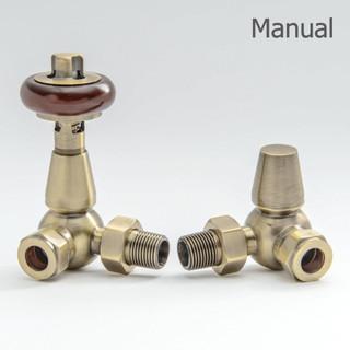 T-MAN-022-CR-AB-THUMB - 022 Traditional Manual Corner Antique Brass Radiator Valves