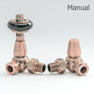 T-MAN-022-CR-AC - 022 Traditional Manual Corner Antique Copper Radiator Valves