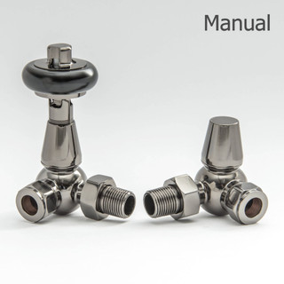 T-MAN-022-CR-BL - 022 Traditional Manual Corner Black Nickel Radiator Valves