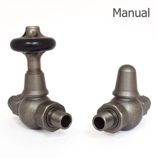 T-MAN-046-ST-PEW - 046 Traditional Manual Straight Pewter Radiator Valves