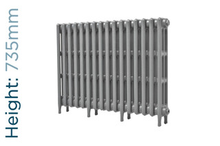 CA-CLR-V3-735-16-TH - Victorian Clearance 3 Column 16 Section Cast Iron Radiator H735mm x W1010mm