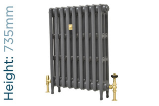 CA-CLR-V3-735-9-TH - Victorian Clearance 3 Column 9 Section Cast Iron Radiator H735mm x W583mm