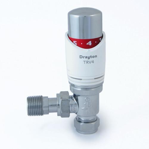 SC-0705150 - Drayton 15mm Angled TRV4 Thermostatic Radiator Valve - White/Chrome