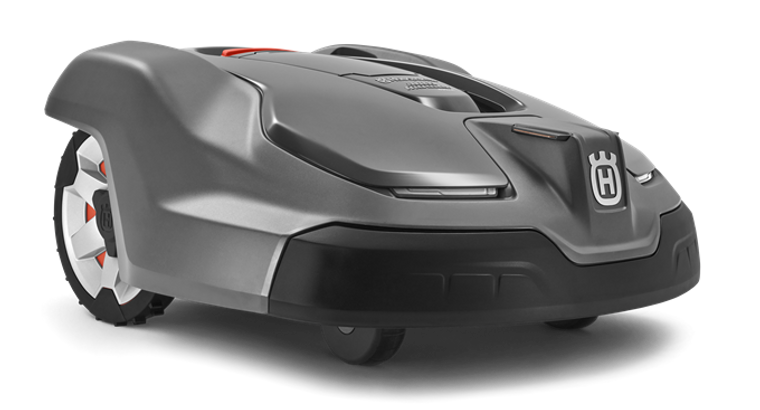 """Premium model and the perfect choice to achieve a up to 3.6"""" (≈90mm) cutting height in gardens up to 3,200m², with separated lawn areas, narrow passages, trees and bushes. The mower easily handles slopes of up to 45%. Features GPS assisted navigation, remote object detection, GPS theft tracking and X-line design with LED headlights. Equipped with remote supervision through Automower® Connect."""