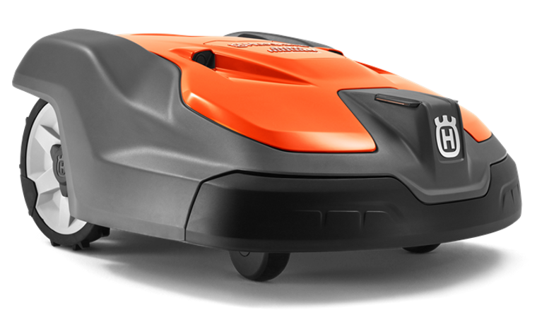 """Professional robotic mower with impressively high cutting speed and capacity. This model is designed to achieve a cutting height of up to 3.6"""" (≈90mm) on areas of up to 5,000m² with greater challenges. Max. incline 45%. Adapted for public installations with simplified control for easy interaction. Object detection through ultrasonic technology and GPS assisted navigation, remote control and surveillance—together with the rest of your product fleet— with Husqvarna Fleet Services™."""