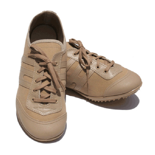 The In-Step Cougar is a lightweight, cotton canvas dance sneaker with sleek vinyl trim that is perfect for color guard, baton twirling, and other dance activities.   Please select color you would like to order.  (Tan shown)