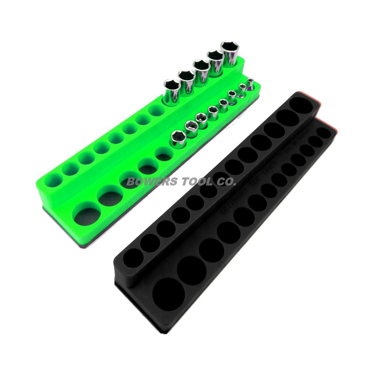Mechanics Time Saver 1//4 Drive Magnetic Socket Holder Deep Organizer MTS Green