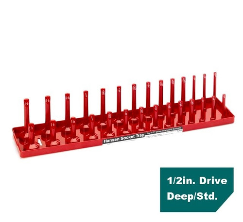 "Hansen Global 1/2"" Drive Standard SAE Inch Regular & Deep Socket Tray Holder USA"