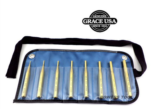 Grace 8pc Brass Pin Punch Set in Vinyl Roll Made in USA