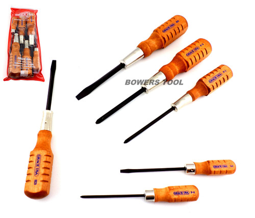 Grace USA 6pc Home Care Wood Handle Screwdriver Set Made in USA