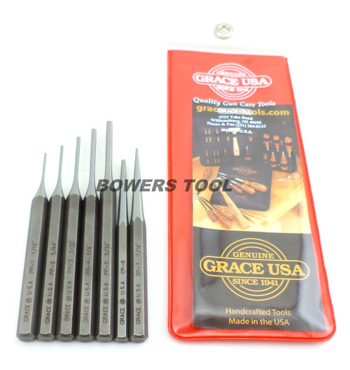 Grace USA 7pc Gunsmith Starter Steel Punch Set Pin Solid Center MADE IN USA