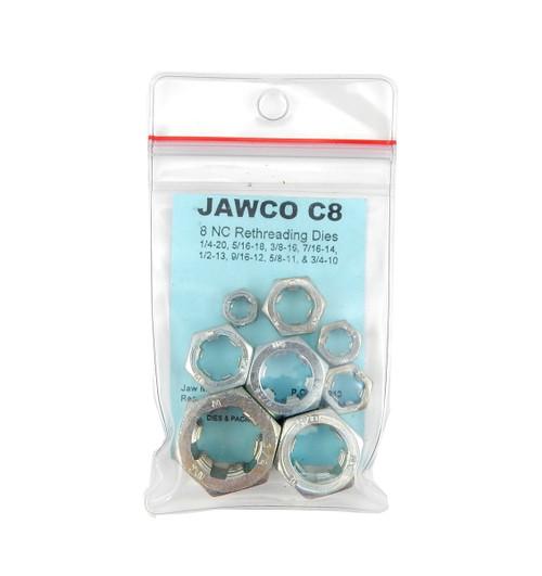 Jawco 8pc C8 NC-USS Coarse SAE Rethreading Die Set Thread Restore 1/4-3/4 USA