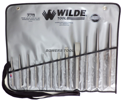 Wilde Tool 12pc Punch & Chisel Set Pin Taper Center Made in USA