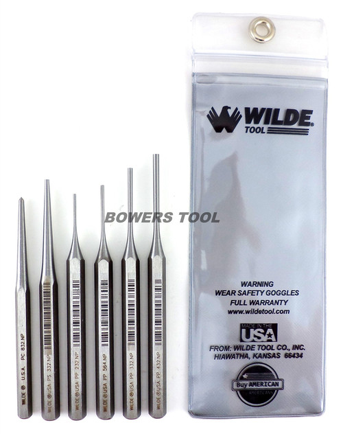 Wilde 6pc Gunsmith Punch Set Pin Taper Center Made in USA