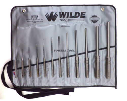 Wilde Tool 12pc Roll Pin Spring Punch Set Made in USA w Case