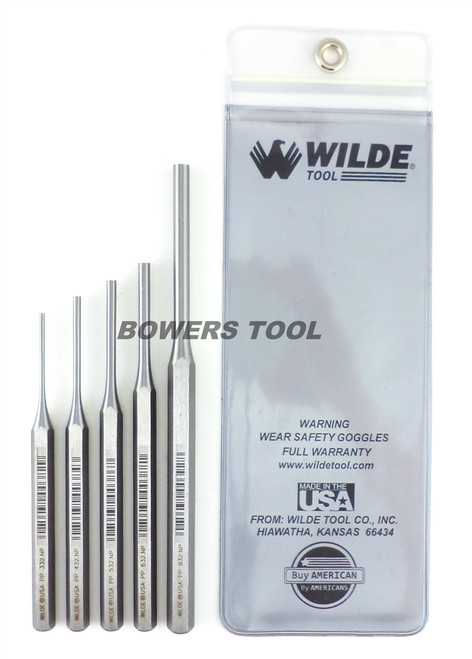 Wilde Tool 5pc Pin Punch Set Made in USA w Pouch