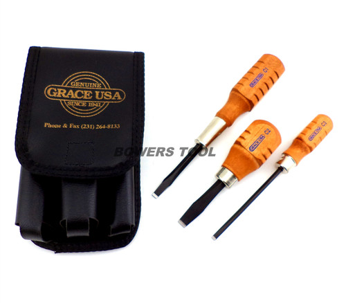 Grace USA 3pc Wooden Flat Screwdriver Set for Peacemaker Gunsmith Gun Care HG-3