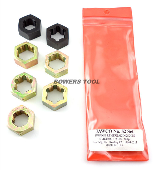 Jawco #52 7pc Spindle Rethreading Die Set Thread Restore USA