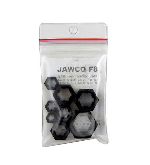 Jawco 8pc F8 NF-SAE Fine Rethreading Die Set Thread Restore 1/4-3/4 USA MADE