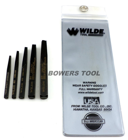 Wilde Tool 5pc Screw & Bolt Extractor Set Made in USA w Pouch