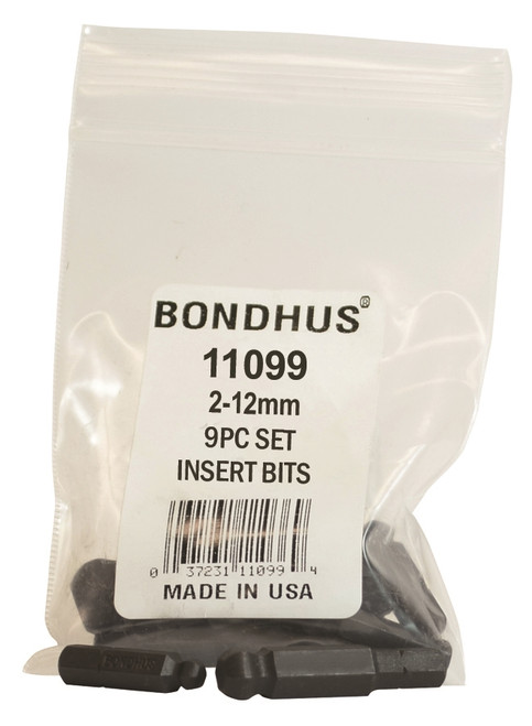 Bondhus 9pc 1/4in Shank Hex Insert Bit Set Metric 2-12mm BallDriver USA 11099