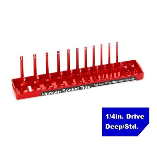 "Hansen Global 1/4"" Drive Standard SAE Inch Regular & Deep Socket Tray Holder USA"