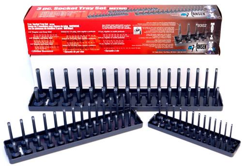 Hansen 3pc Socket Organizer Tray Metric 1/4 3/8 1/2 in. USA