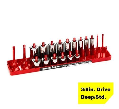 "Hansen Global 3/8"" Drive Standard SAE Inch Regular & Deep Socket Tray Holder USA"