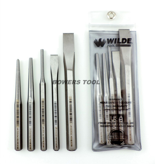 Wilde Tool 5pc Punch & Chisel Set Pin Taper Center Made in USA