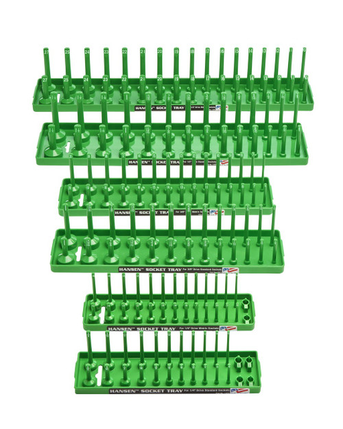 "Hansen 6pc Socket Organizer Tray Rack Holder Metric SAE 1/4"" 3/8"" 1/2"" Green"