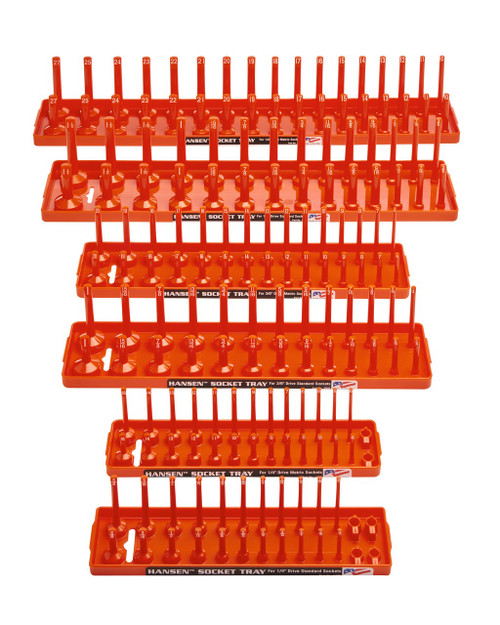 "Hansen 6pc Socket Organizer Tray Rack Holder Metric SAE 1/4"" 3/8"" 1/2"" Orange"