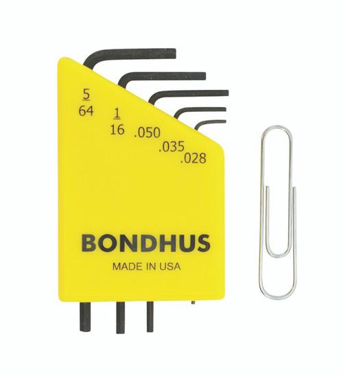 "Bondhus 5pc Micro Mini Hex L Wrench Set SAE 5/64"" to .028 Made in USA 35393"