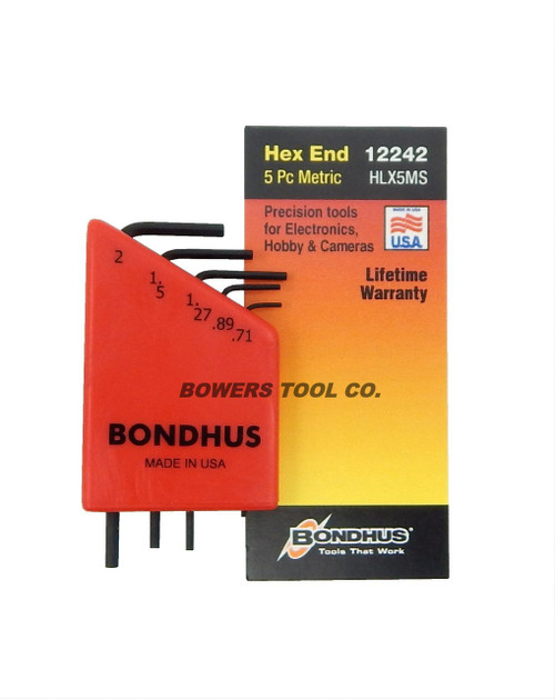 Bondhus 5pc Micro Mini Hex L Wrench Set Metric 2mm to .71mm Made in USA 12242
