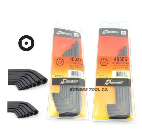 "Bondhus Security Hex Tamper Resistant L Wrench Set Metric SAE 2.5-8mm 3/32-3/8"""