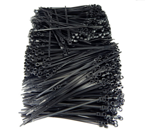 "Mounting Hole Zip Cable Ties 8"" 50lbs 1000pc UV Black #10 Screw Mount USA Made"