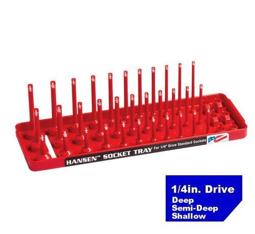 "Hansen 1/4"" Socket Tray Organizer Holder 3 Row Standard SAE Shallow, Deep USA"