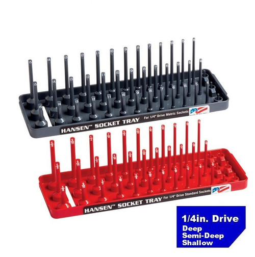 "Hansen 1/4"" Socket Tray Organizer Holder Set 3 Row Metric SAE Shallow, Deep USA"