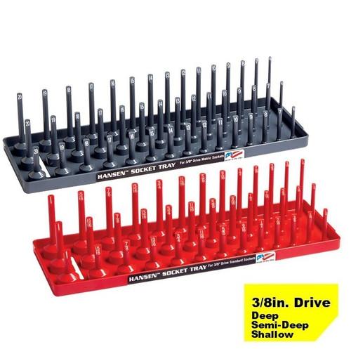 "Hansen 3/8"" Socket Tray Organizer Holder Set 3 Row Metric SAE Shallow, Deep USA"