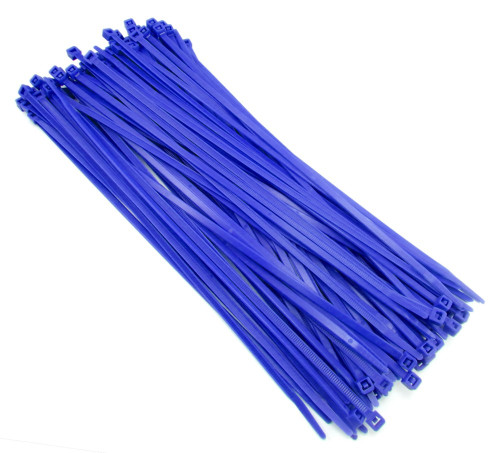 "Zip Cable Ties 11"" 50lbs 100pc BLUE Made in USA Nylon Wire Tie Wraps"