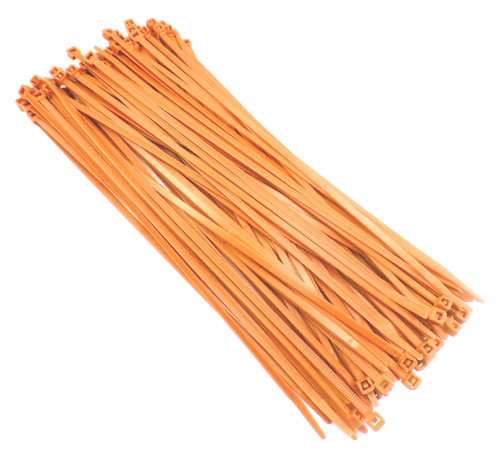 "Zip Cable Ties 11"" 50lbs 100pc FLUORESCENT ORANGE USA Made Nylon Wire Tie Wraps"
