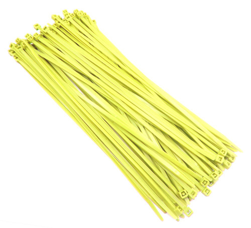 "Zip Cable Ties 11"" 50lbs 100pc FLUORESCENT YELLOW USA Made Nylon Wire Tie Wraps"