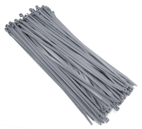 "Zip Cable Ties 11"" 50lbs 100pc GRAY Made in USA Nylon Wire Tie Wraps"
