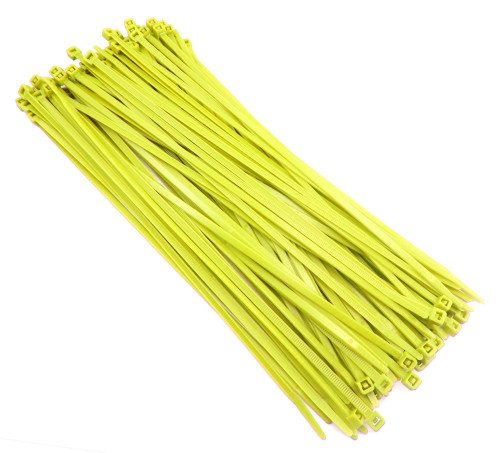 """Zip Cable Ties 11"""" 50lbs 100pc YELLOW Made in USA Nylon Wire Tie Wraps"""