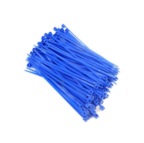 """Zip Cable Ties 4"""" 18lbs 100pc BLUE Made in USA Nylon Wire Tie Wraps"""