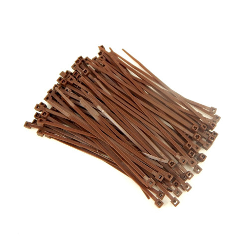 """Zip Cable Ties 4"""" 18lbs 100pc BROWN Made in USA Nylon Wire Tie Wraps"""