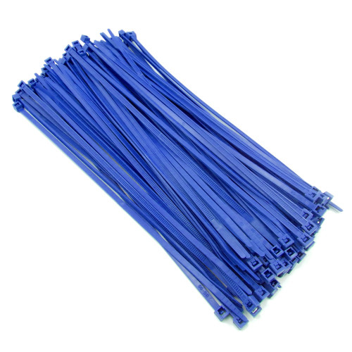 """Zip Cable Ties 8"""" 40lbs 100pc BLUE Made in USA Nylon Wire Tie Wraps"""