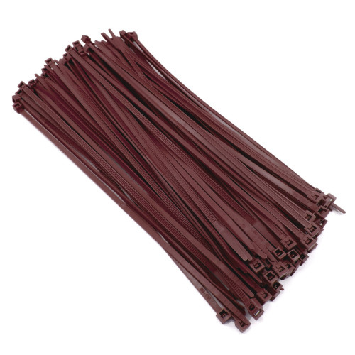 """Zip Cable Ties 8"""" 40lbs 100pc BROWN Made in USA Nylon Wire Tie Wraps"""