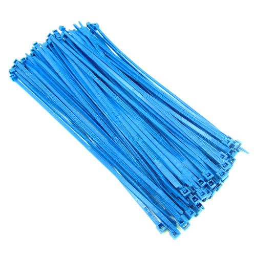 "Zip Cable Ties 8"" 40lbs 100pc FLUORESCENT BLUE Made in USA Nylon Wire Tie Wraps"