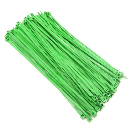 "Zip Cable Ties 8"" 40lbs 100pc FLUORESCENT GREEN Made in USA Nylon Wire Tie Wraps"