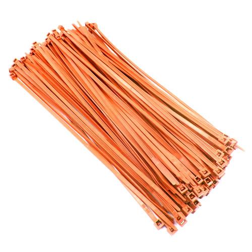 "Zip Cable Ties 8"" 40lbs 100pc FLUORESCENT ORANGE USA Made Nylon Wire Tie Wraps"